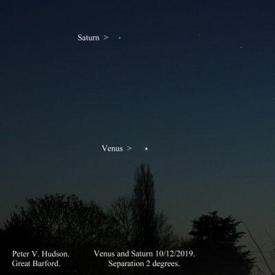 Saturn and Venus - image by P.Hudson, 10-12-19