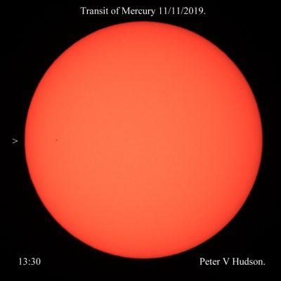 Mercury Transit 2019-11-11, image by Peter Hudson